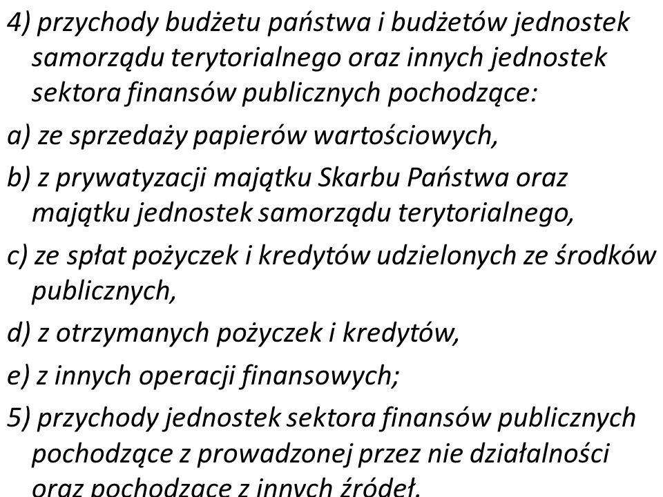 4) przychody budżetu państwa i budżetów jednostek samorządu terytorialnego oraz innych jednostek sektora finansów publicznych pochodzące: a) ze sprzedaży papierów wartościowych, b) z prywatyzacji majątku Skarbu Państwa oraz majątku jednostek samorządu terytorialnego, c) ze spłat pożyczek i kredytów udzielonych ze środków publicznych, d) z otrzymanych pożyczek i kredytów, e) z innych operacji finansowych; 5) przychody jednostek sektora finansów publicznych pochodzące z prowadzonej przez nie działalności oraz pochodzące z innych źródeł.