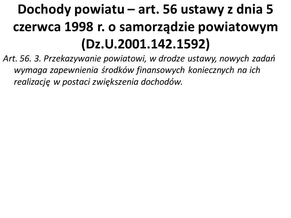 Dochody powiatu – art. 56 ustawy z dnia 5 czerwca 1998 r