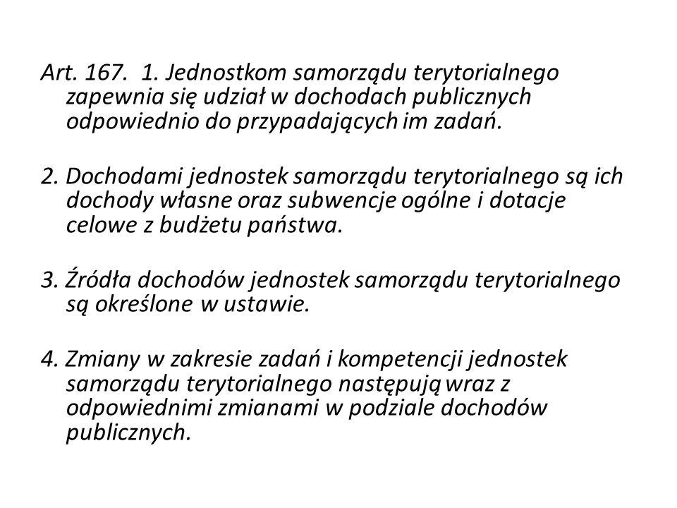 Art. 167. 1. Jednostkom samorządu terytorialnego zapewnia się udział w dochodach publicznych odpowiednio do przypadających im zadań.