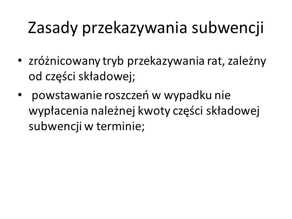 Zasady przekazywania subwencji