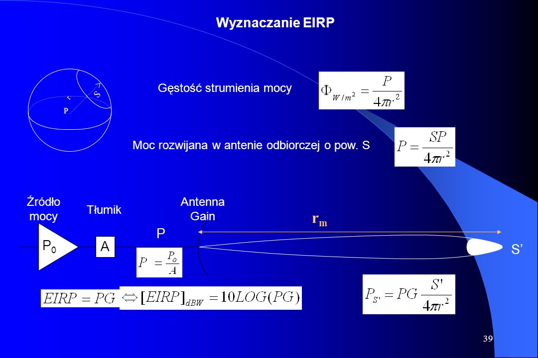 rm Wyznaczanie EIRP P P0 A S' Gęstość strumienia mocy