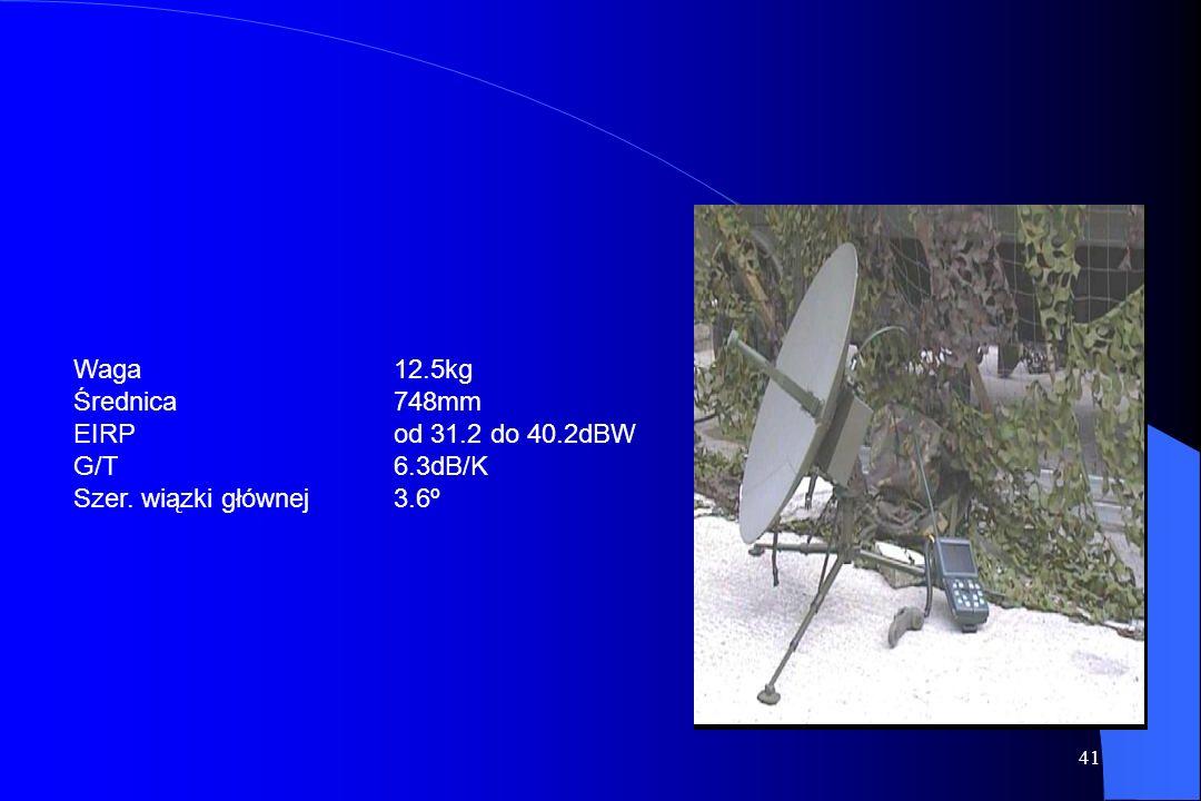 Waga 12.5kg Średnica 748mm EIRP od 31.2 do 40.2dBW G/T 6.3dB/K Szer. wiązki głównej 3.6º