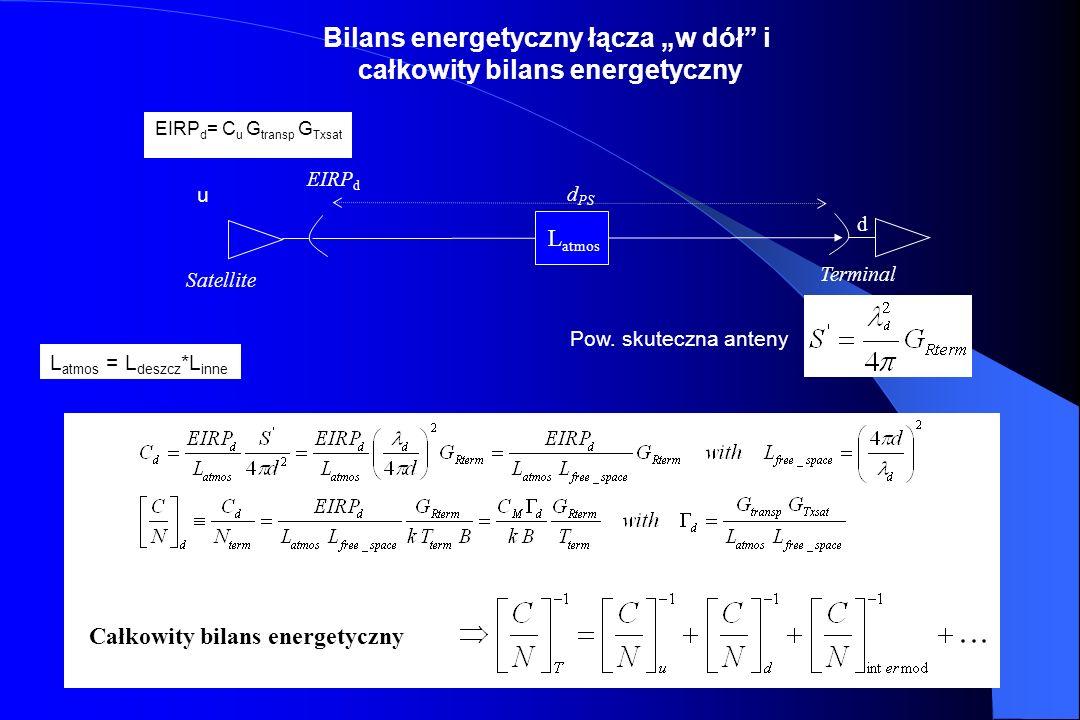 """Bilans energetyczny łącza """"w dół i całkowity bilans energetyczny"""