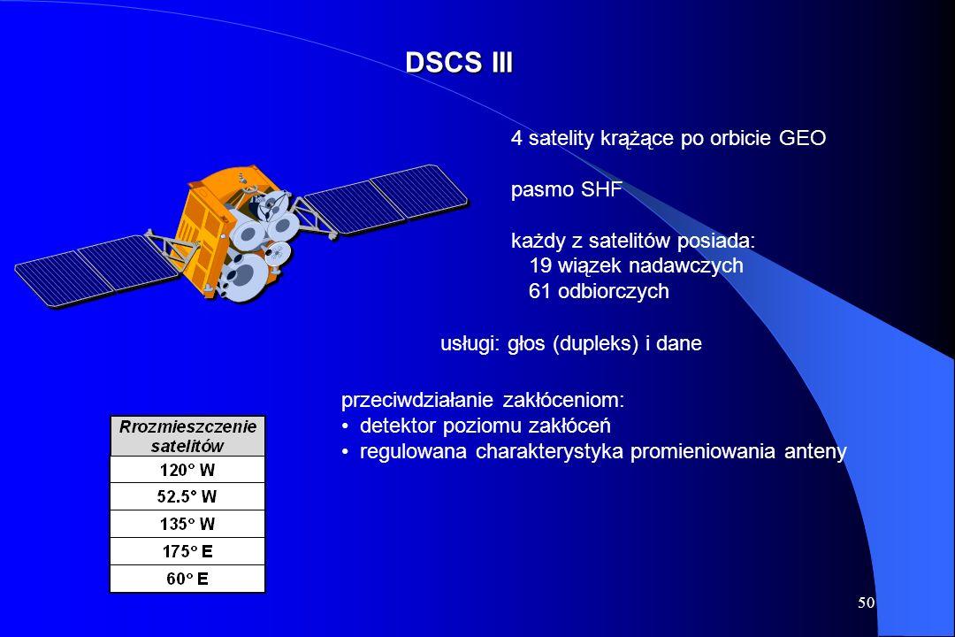 DSCS III 4 satelity krążące po orbicie GEO pasmo SHF