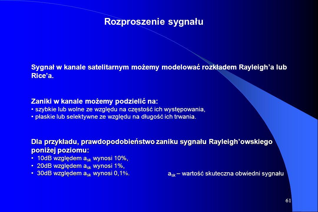 Rozproszenie sygnału Sygnał w kanale satelitarnym możemy modelować rozkładem Rayleigh'a lub Rice'a.