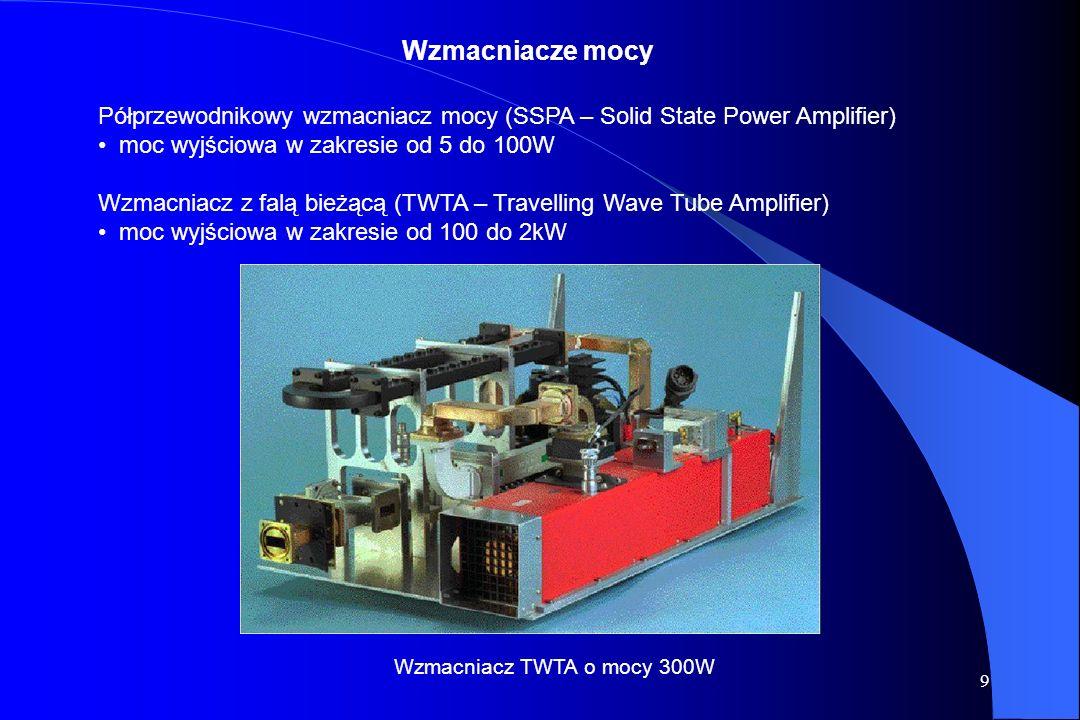 Wzmacniacze mocy Półprzewodnikowy wzmacniacz mocy (SSPA – Solid State Power Amplifier) moc wyjściowa w zakresie od 5 do 100W.