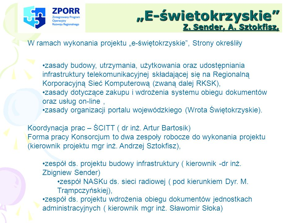"""""""E-świetokrzyskie Z. Sender, A. Sztokfisz,"""