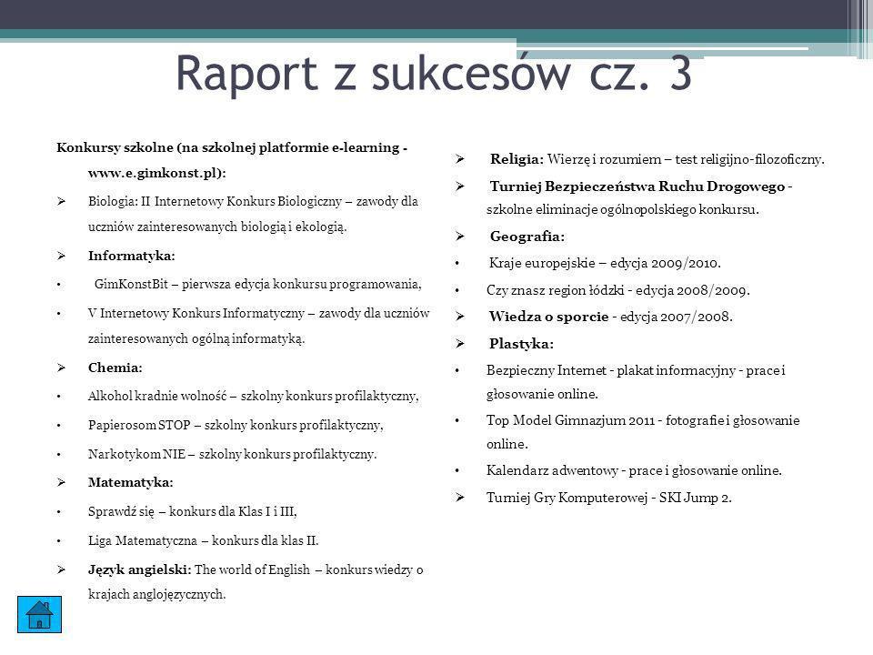 Raport z sukcesów cz. 3 Konkursy szkolne (na szkolnej platformie e-learning - www.e.gimkonst.pl):