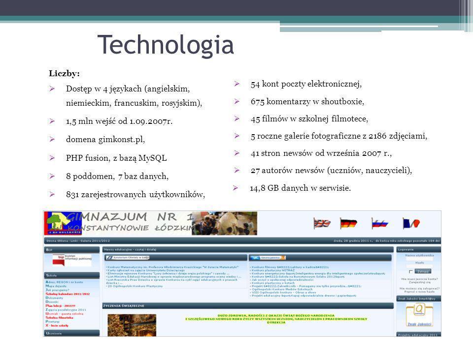 Technologia Liczby: Dostęp w 4 językach (angielskim, niemieckim, francuskim, rosyjskim), 1,5 mln wejść od 1.09.2007r.