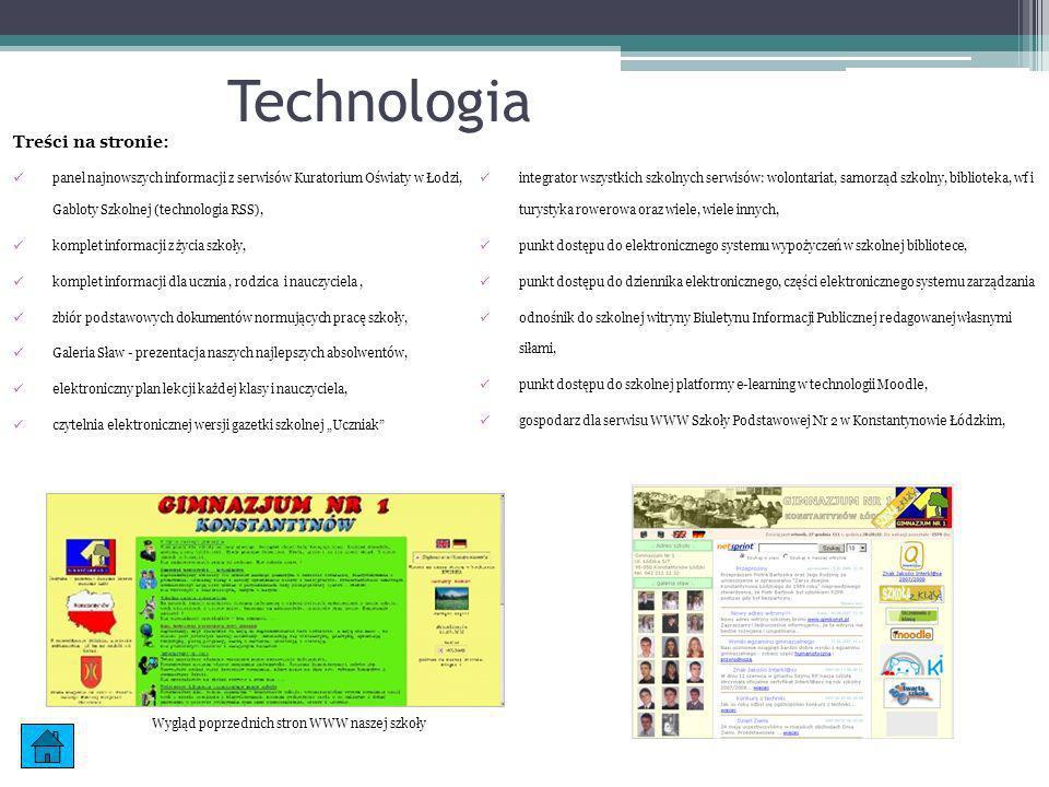 Wygląd poprzednich stron WWW naszej szkoły