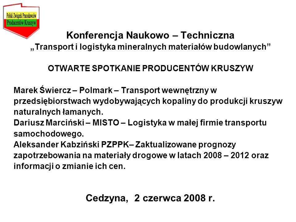 Konferencja Naukowo – Techniczna Cedzyna, 2 czerwca 2008 r.