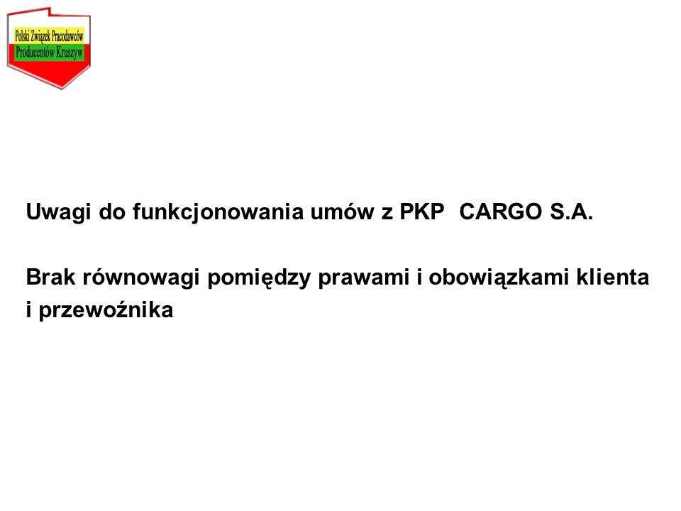 Uwagi do funkcjonowania umów z PKP CARGO S.A.