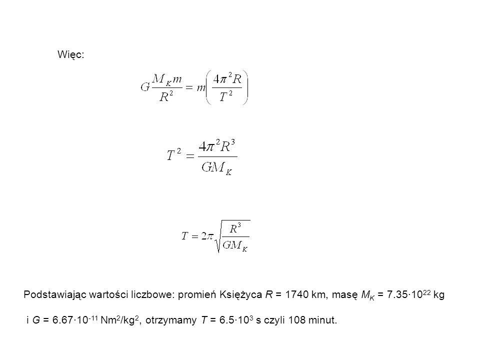 Więc: Podstawiając wartości liczbowe: promień Księżyca R = 1740 km, masę MK = 7.35·1022 kg.