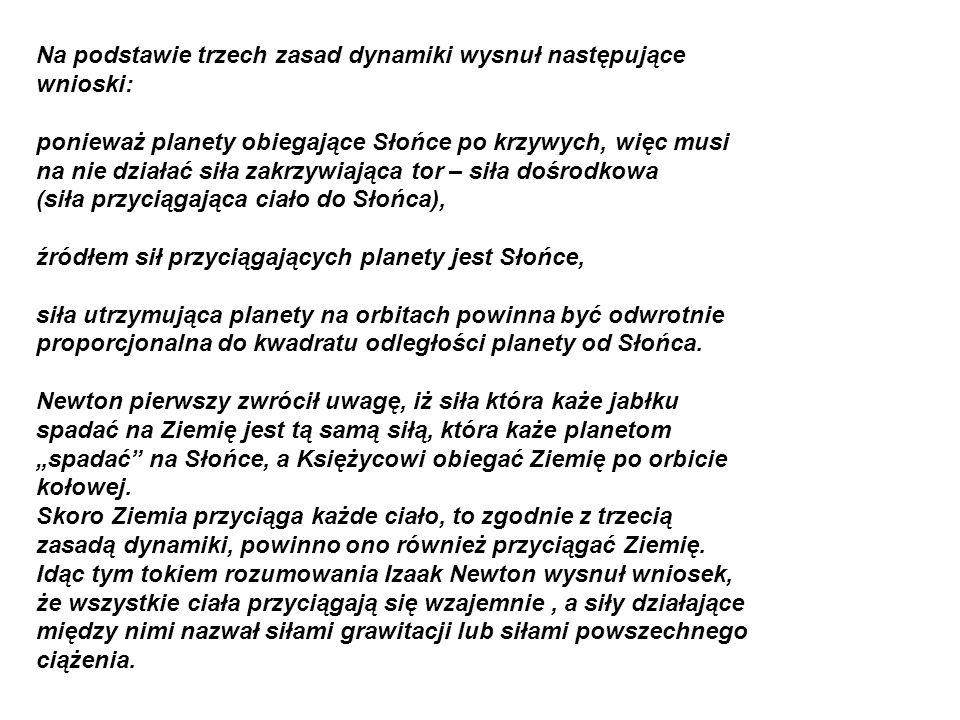 Na podstawie trzech zasad dynamiki wysnuł następujące wnioski:
