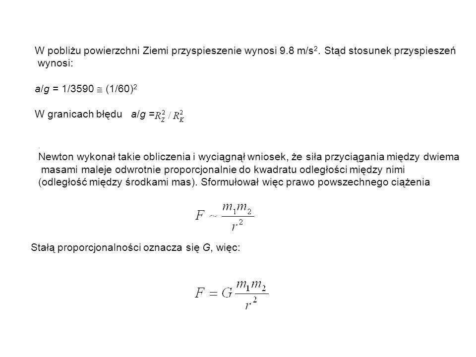 Stałą proporcjonalności oznacza się G, więc: