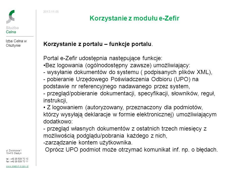 Korzystanie z modułu e-Zefir