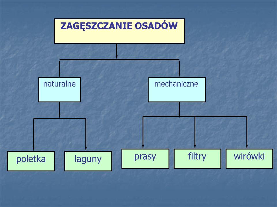 prasy filtry wirówki ZAGĘSZCZANIE OSADÓW poletka laguny naturalne