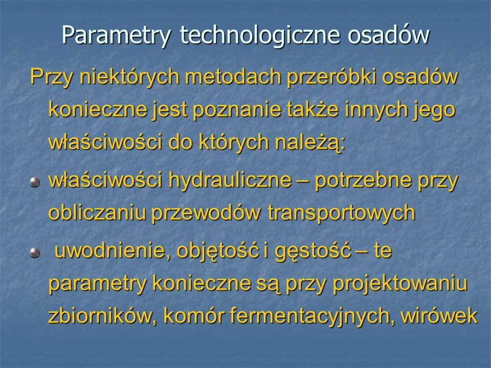 Parametry technologiczne osadów