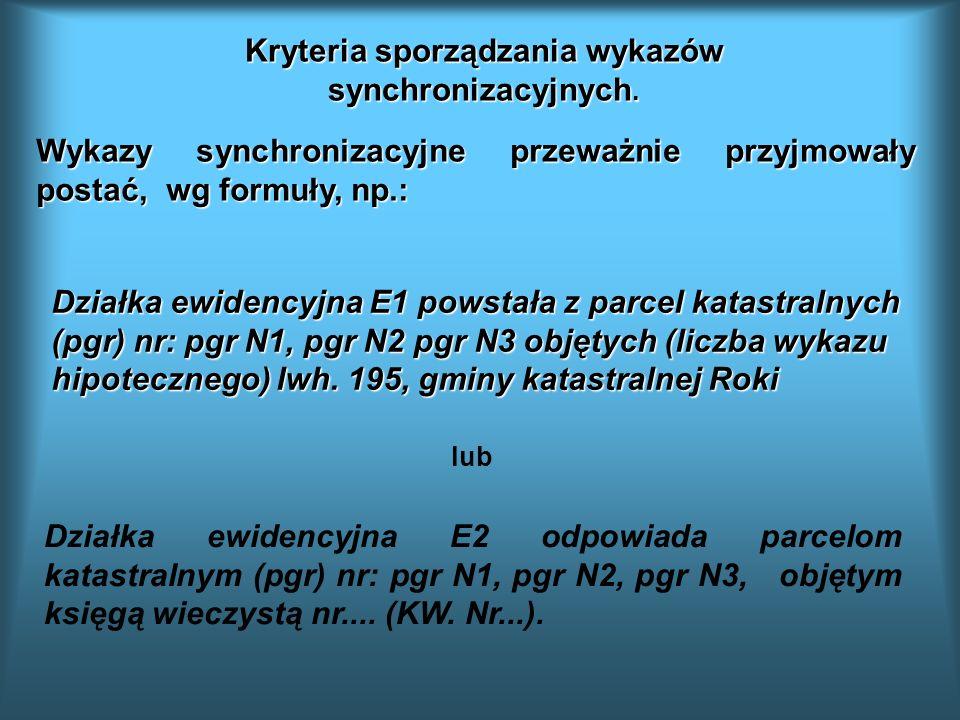 Kryteria sporządzania wykazów synchronizacyjnych.