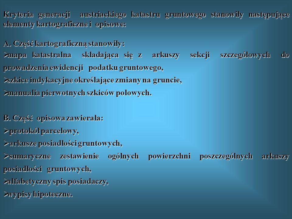 Kryteria generacji austriackiego katastru gruntowego stanowiły następujące elementy kartograficzne i opisowe: