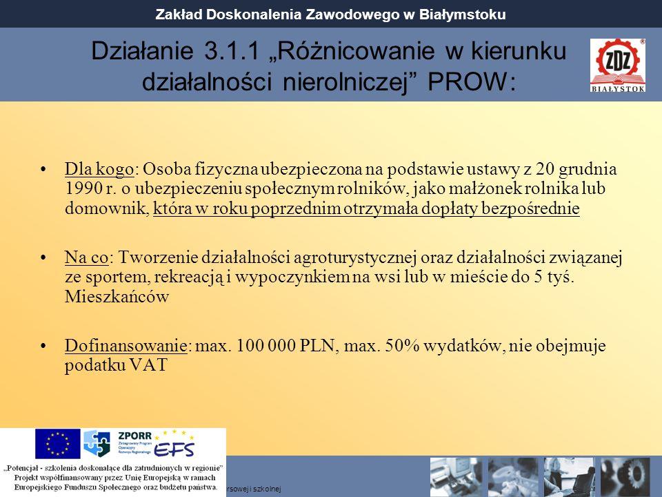 """Działanie 3.1.1 """"Różnicowanie w kierunku działalności nierolniczej PROW:"""