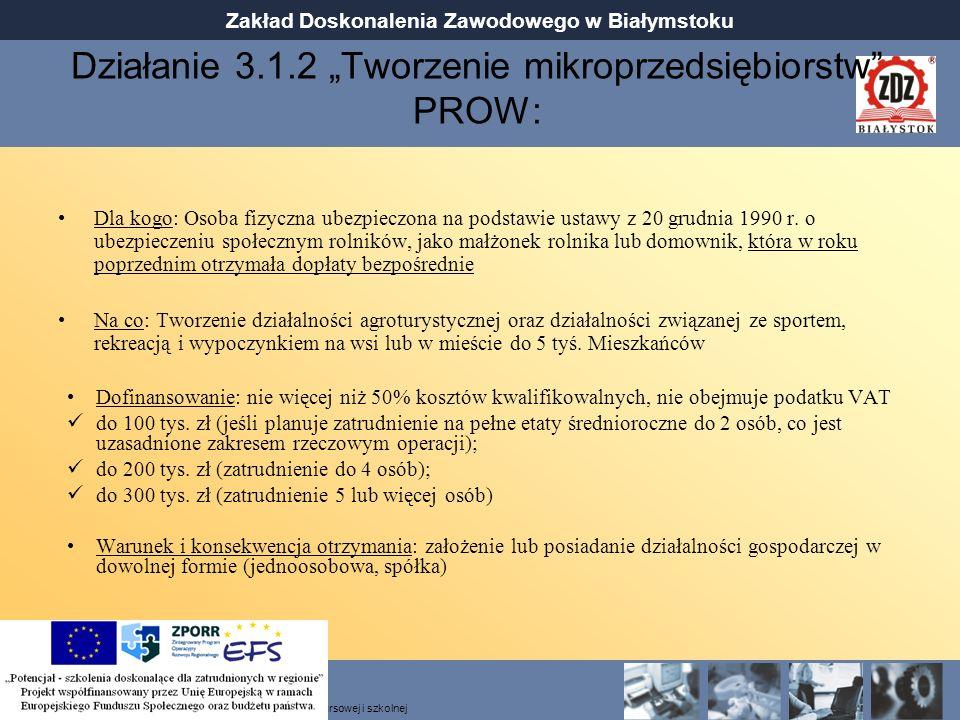 """Działanie 3.1.2 """"Tworzenie mikroprzedsiębiorstw PROW:"""