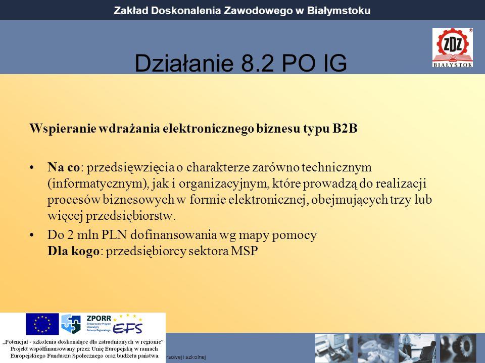 Działanie 8.2 PO IG Wspieranie wdrażania elektronicznego biznesu typu B2B.