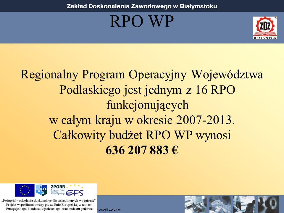 RPO WP Regionalny Program Operacyjny Województwa Podlaskiego jest jednym z 16 RPO funkcjonujących. w całym kraju w okresie 2007-2013.