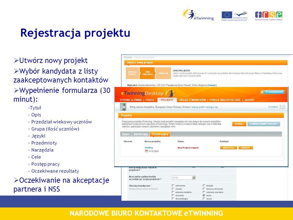Rejestracja projektu Utwórz nowy projekt