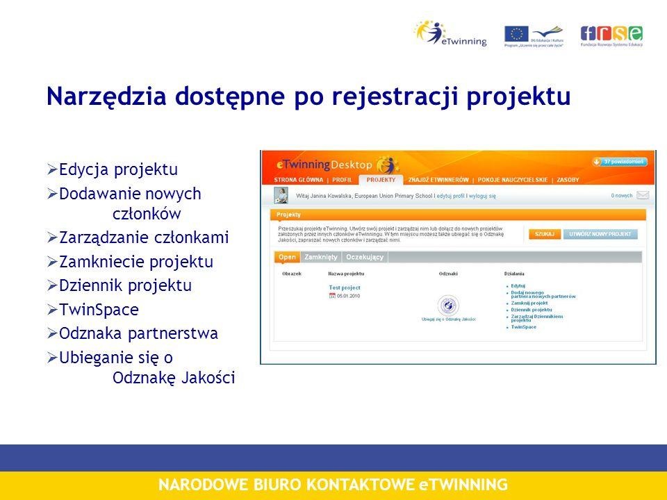 Narzędzia dostępne po rejestracji projektu