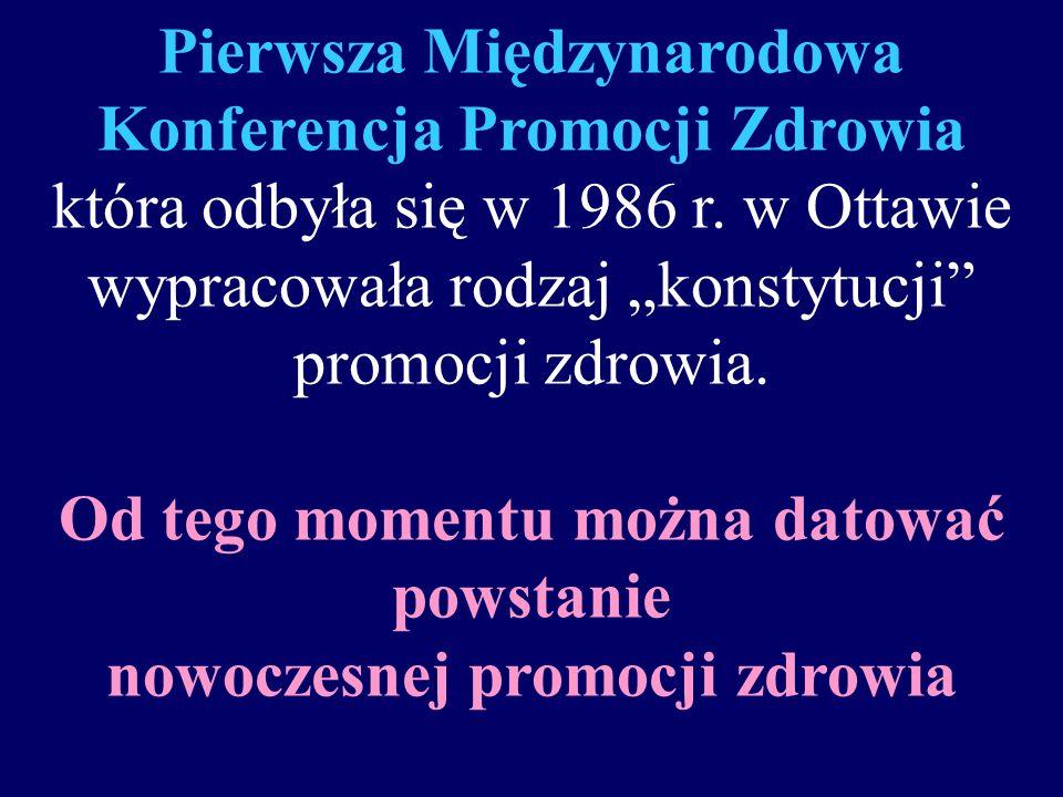 Pierwsza Międzynarodowa Konferencja Promocji Zdrowia która odbyła się w 1986 r.