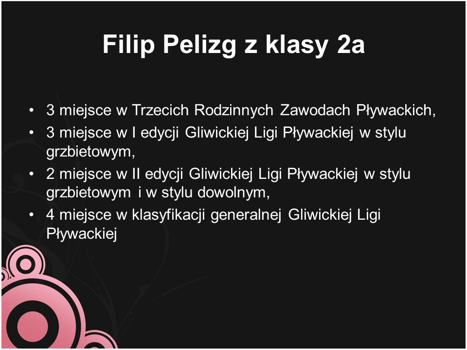 Filip Pelizg z klasy 2a 3 miejsce w Trzecich Rodzinnych Zawodach Pływackich, 3 miejsce w I edycji Gliwickiej Ligi Pływackiej w stylu grzbietowym,