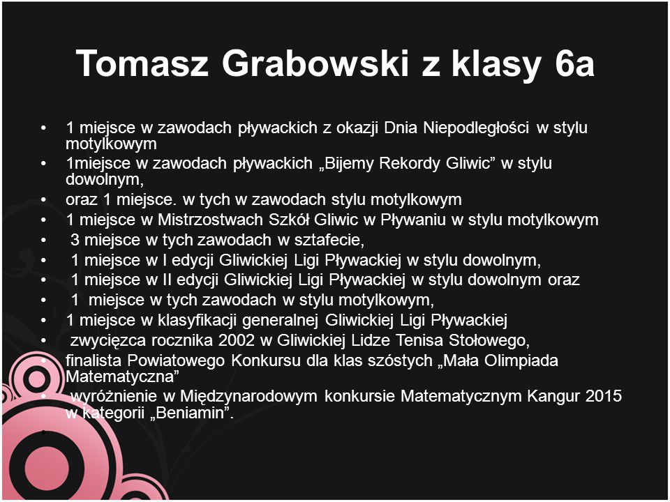 Tomasz Grabowski z klasy 6a