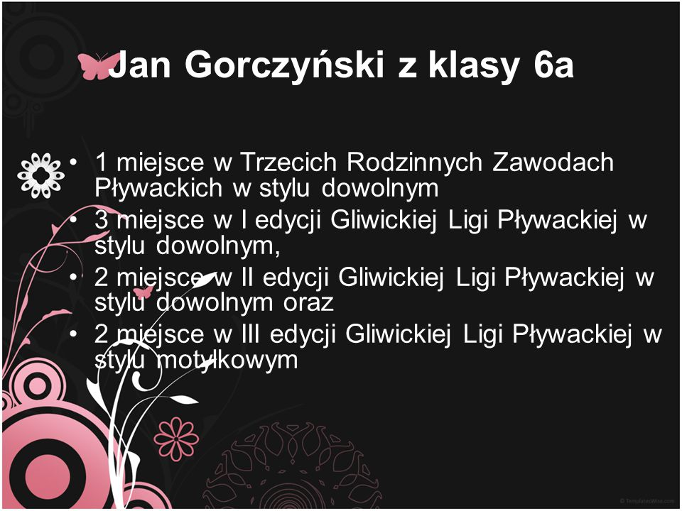 Jan Gorczyński z klasy 6a