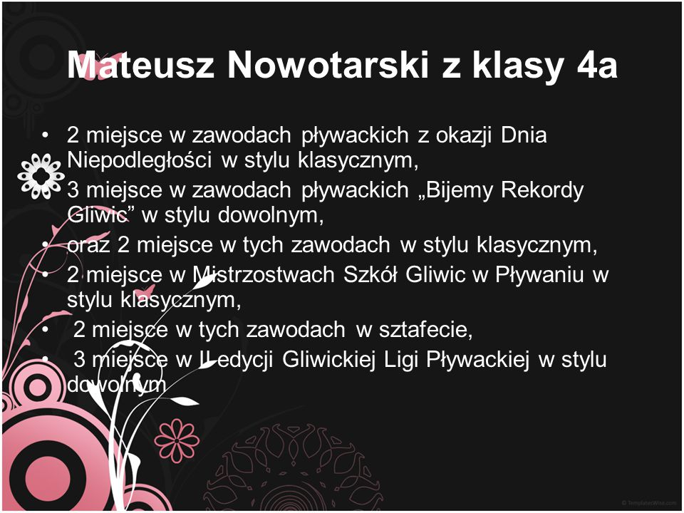 Mateusz Nowotarski z klasy 4a