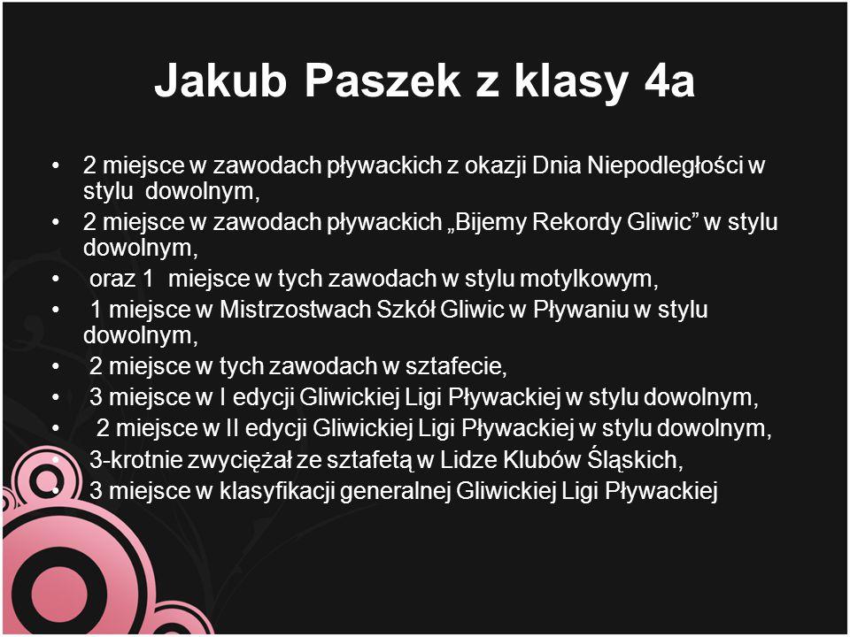 Jakub Paszek z klasy 4a 2 miejsce w zawodach pływackich z okazji Dnia Niepodległości w stylu dowolnym,