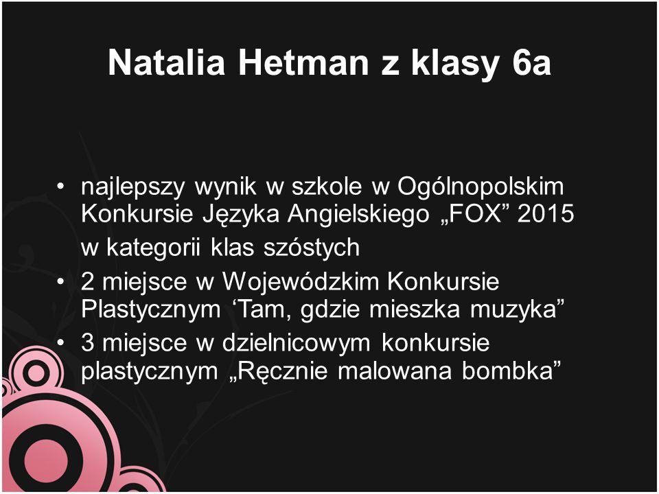 Natalia Hetman z klasy 6a
