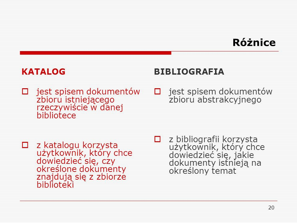 Różnice KATALOG. jest spisem dokumentów zbioru istniejącego rzeczywiście w danej bibliotece.