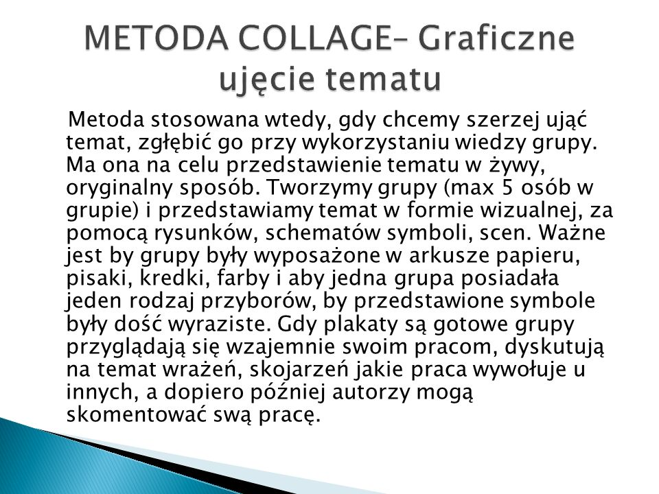 METODA COLLAGE– Graficzne ujęcie tematu