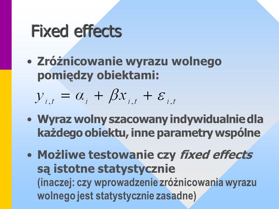 Fixed effects Zróżnicowanie wyrazu wolnego pomiędzy obiektami: