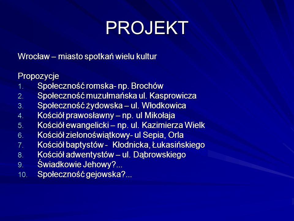 PROJEKT Wrocław – miasto spotkań wielu kultur Propozycje