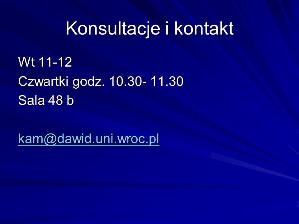 Konsultacje i kontakt Wt 11-12 Czwartki godz. 10.30- 11.30 Sala 48 b