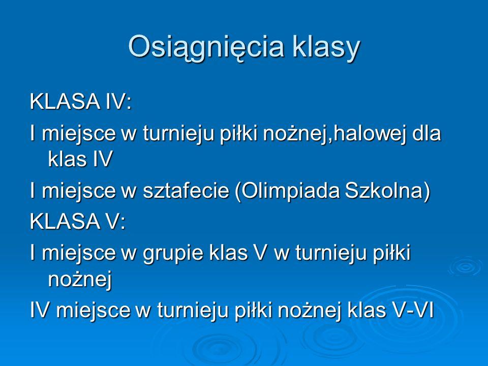 Osiągnięcia klasy KLASA IV: