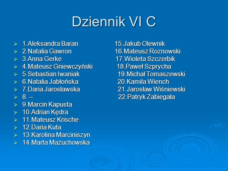 Dziennik VI C 1.Aleksandra Baran 15.Jakub Olewnik