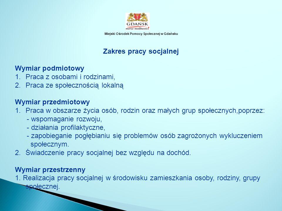 Miejski Ośrodek Pomocy Społecznej w Gdańsku Zakres pracy socjalnej