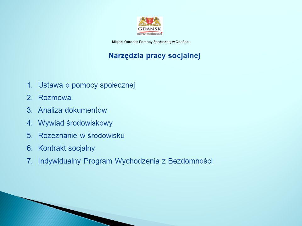 Miejski Ośrodek Pomocy Społecznej w Gdańsku Narzędzia pracy socjalnej