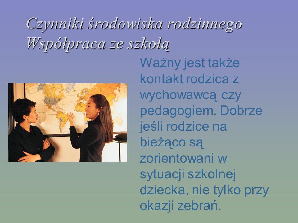 Czynniki środowiska rodzinnego Współpraca ze szkołą