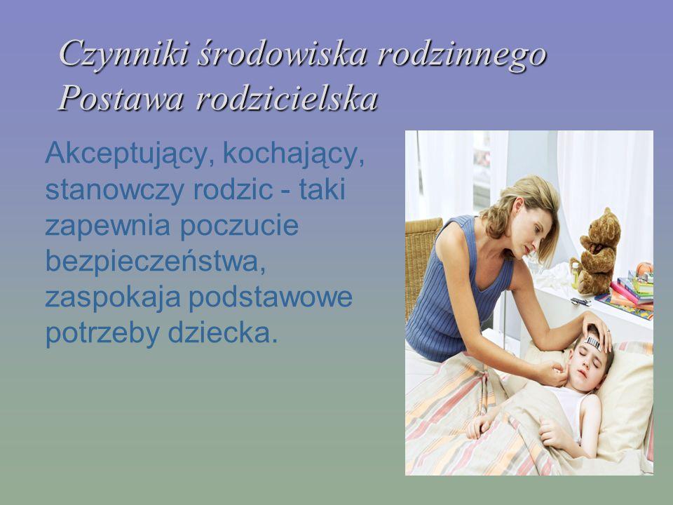 Czynniki środowiska rodzinnego Postawa rodzicielska