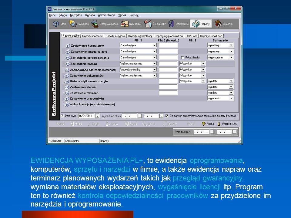EWIDENCJA WYPOSAŻENIA PL+, to ewidencja oprogramowania, komputerów, sprzętu i narzędzi w firmie, a także ewidencja napraw oraz terminarz planowanych wydarzeń takich jak przegląd gwarancyjny, wymiana materiałów eksploatacyjnych, wygaśnięcie licencji itp. Program ten to również kontrola odpowiedzialności pracowników za przydzielone im narzędzia i oprogramowanie.