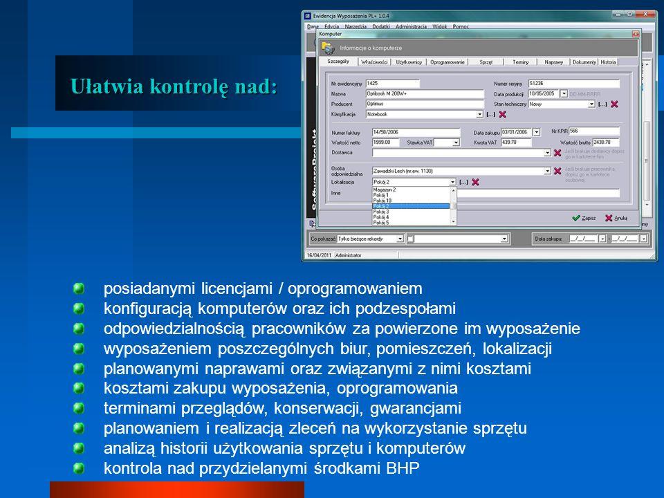 Ułatwia kontrolę nad: posiadanymi licencjami / oprogramowaniem